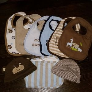 6 bibs one burp cloth and 2 infant size hats